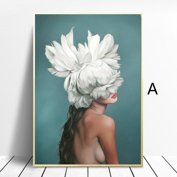 Angle-Girl-Wing-Feather-Canvas-Painting-Wall-Art-Home-Decor-ELEARTWALL