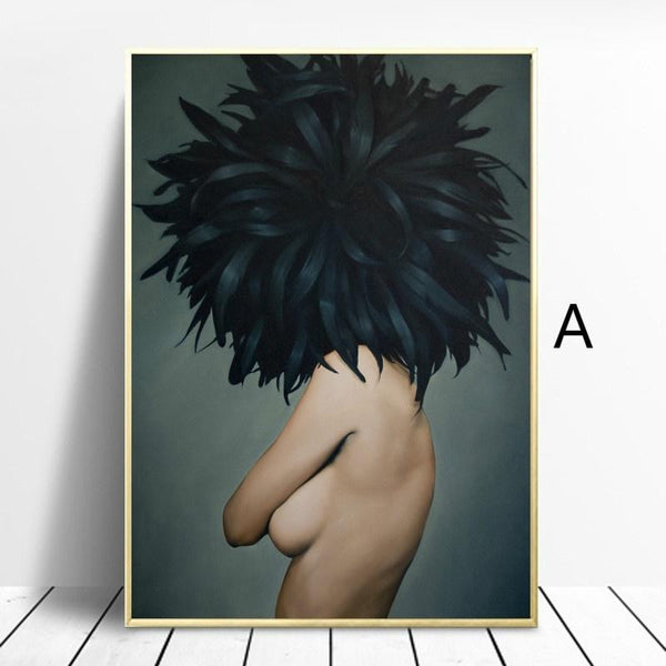 Nordic-Feathers-Girl-Canvas-Poster-abstract-art-Print-Home-Decor