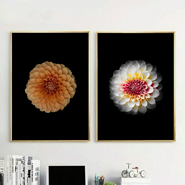 Yellow White Flower Paintings, Canvas Print, Modern Artwork, Wall Art