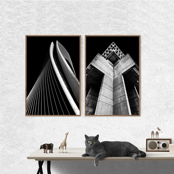 Black-and-White-Wall-Art-Modern-Cityscape-Giclee-Artwork-ELEARTWALL
