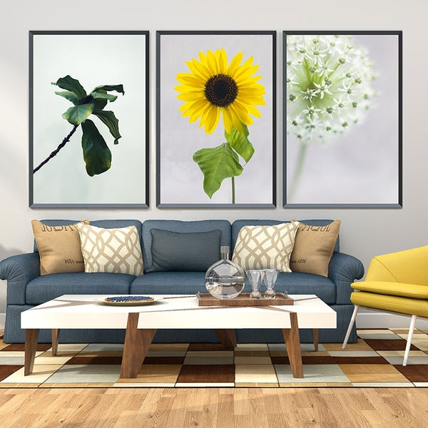3pcs-Leaves-Sunflower-Dandelion-Canvas-Painting-Flower-Wall-Art-Poster