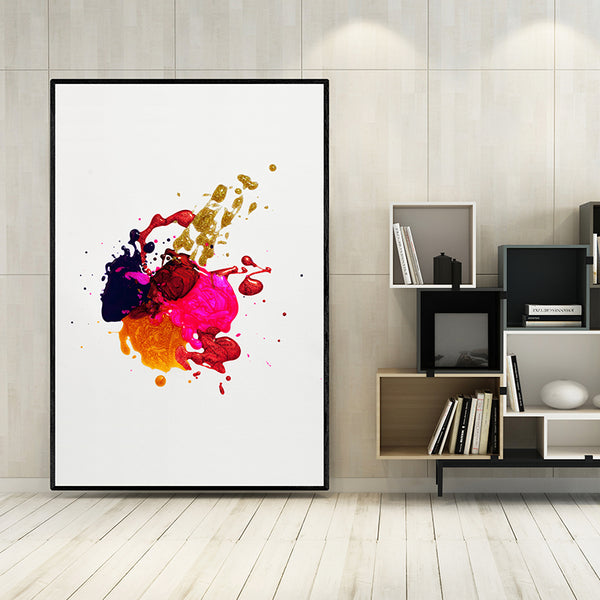Canvas-Painting-Colorful-Dots-Gold-Red-Pinks-Wall-Poster-Artwork