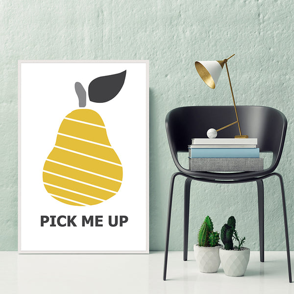 Canvas-Printing-Pear-Art-Print-Yellow-Fruit-Artwork-for-Bedroom-Decor