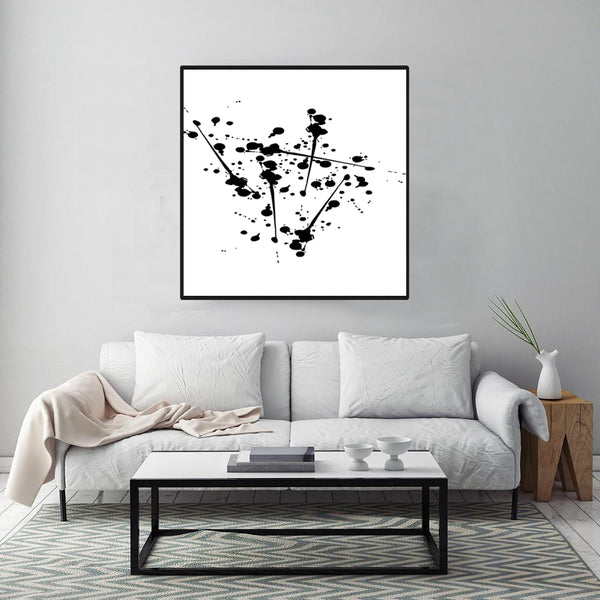 Original-Painting-Black-&-White-Canvas-Art-in-Dots-Print-Abstract-Art