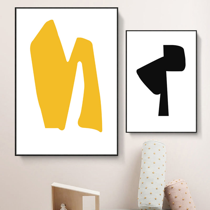 Mid-Century-Modern-Painting-Yellow-Art-Abstract-Geometric-Artwork