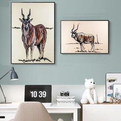 Animal-Canvas-Painting-Wall-Art-Print-Antelope-Artwork-for-Home-Decor