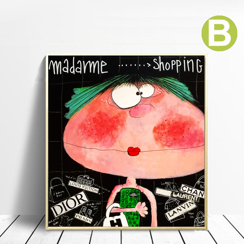 Lovely Big Girl Graffiti Wall Art Print on Canvas