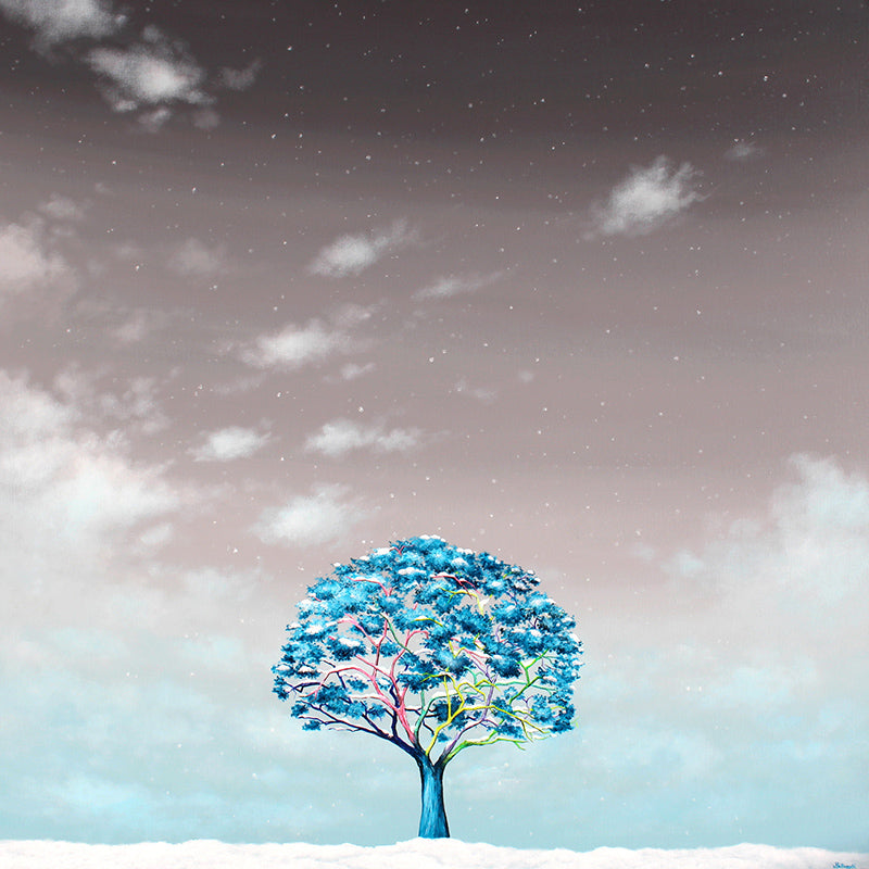 Think tree with Snow Wall Art Print