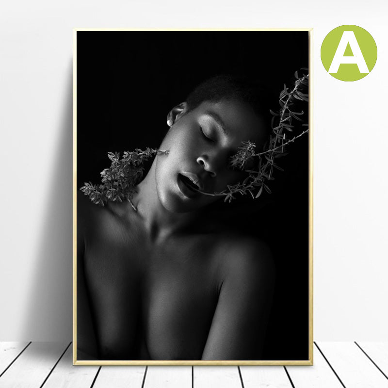 Nordic-Modern-Wall-Art-Print-on-Canvas-African-Woman-for-home-decor