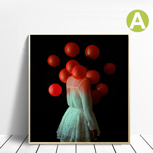 Modern-Nordic-Abstract-Art-Flower-Girl-Canvas-Painting-Wall-Print