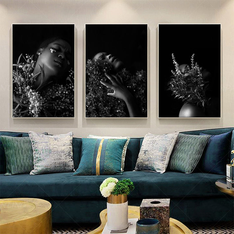 Nordic-African-Woman-Black-and-White-Wall-Art-Canvas-Print-Painting