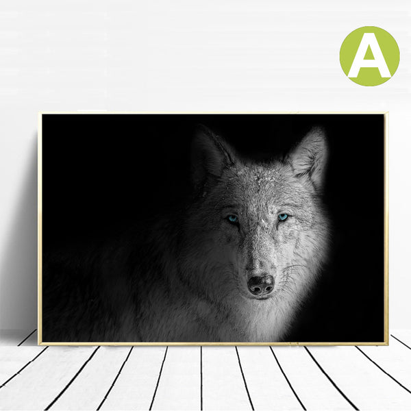 Black & White Wolf Wall Art Print on Canvas
