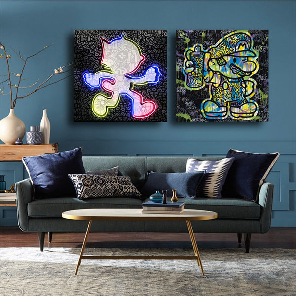 Graffiti-Street-Art-Print-Canvas-Super-Mary-Wall-Art-Poster