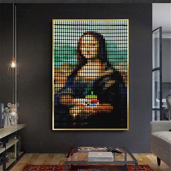 Abstract-Modern-Picture-Pixel-Mona-Lisa-Nordic-Wall-Art-Print-Poster