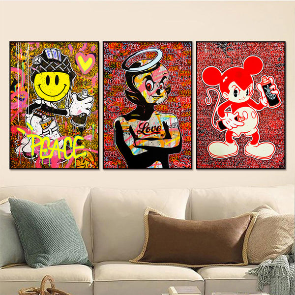 Wall-Art-Print-Poster-Street-Graffiti-Canvas-Painting-Mickey-Mouse