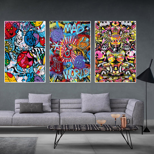 Graffti-Canvas-Painting-Street-Art-Love-Wild-animal-wall-print-poster