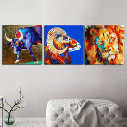 Wall-Art-Graffiti-Canvas-Animals-Lion-Cow-On-The-Wall-Cuadros-Picture