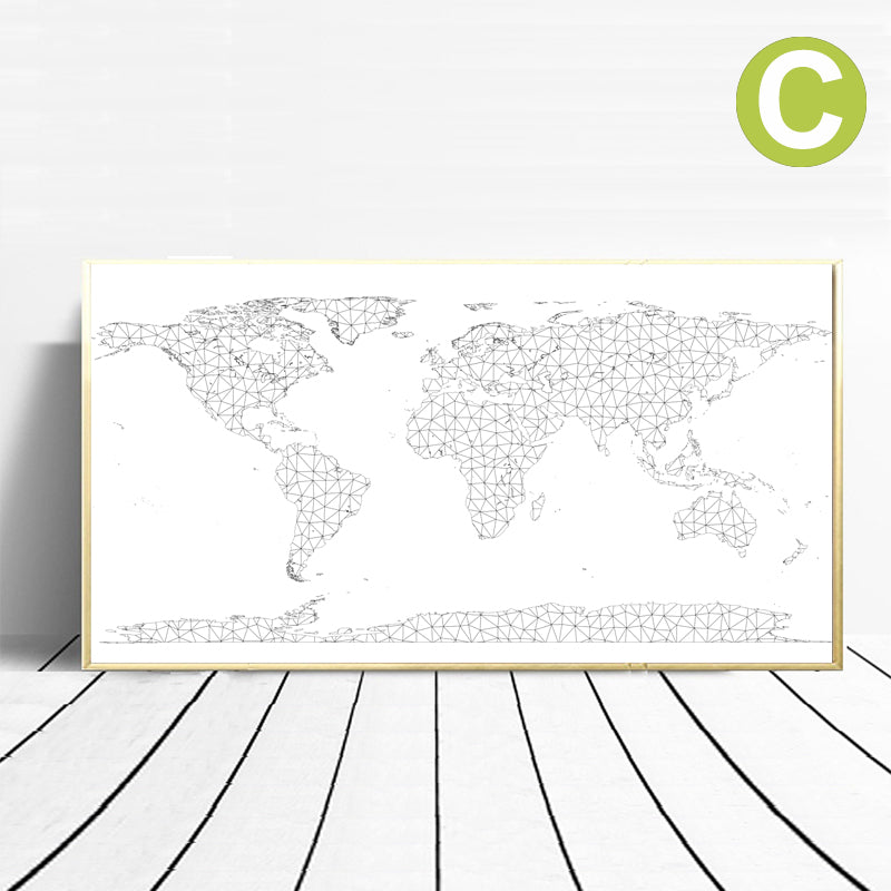 World Map Country Name Sticker Wall Art Poster