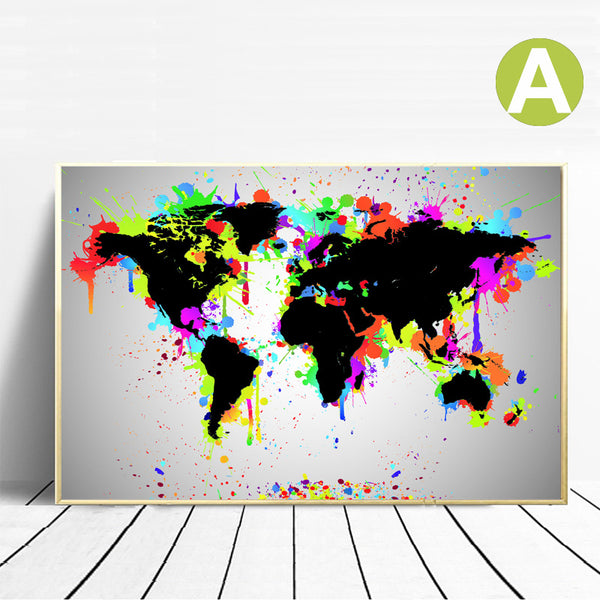Graffiti Painting World Map Sticker Wall Art Poster