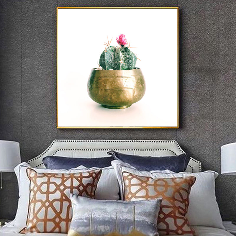 Nordic-Square-Canvas-Print-Wall-Art-Poster-Green-Succulent-Plant-Decor