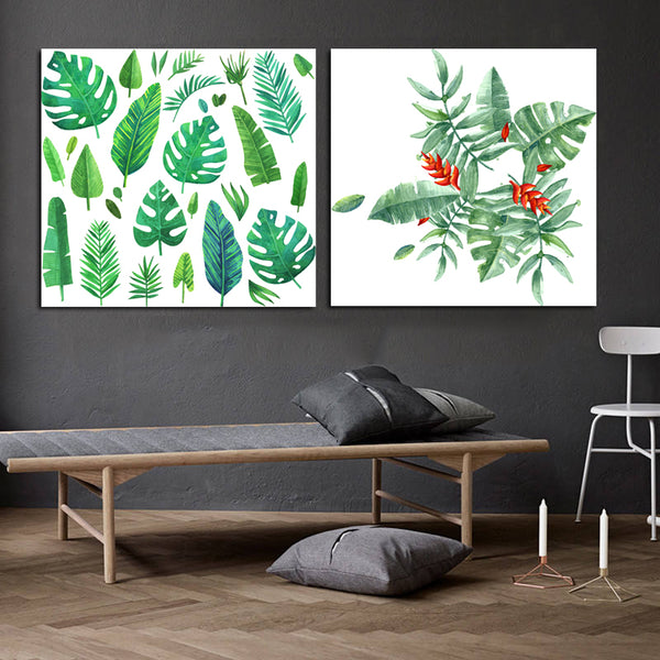 Modern Green Bananas Leaf Canvas Print