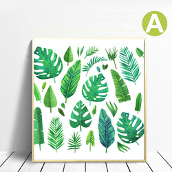 Modern-Wall-Art-Poster-Green-Bananas-Leaf-Watercolor-Canvas-Print
