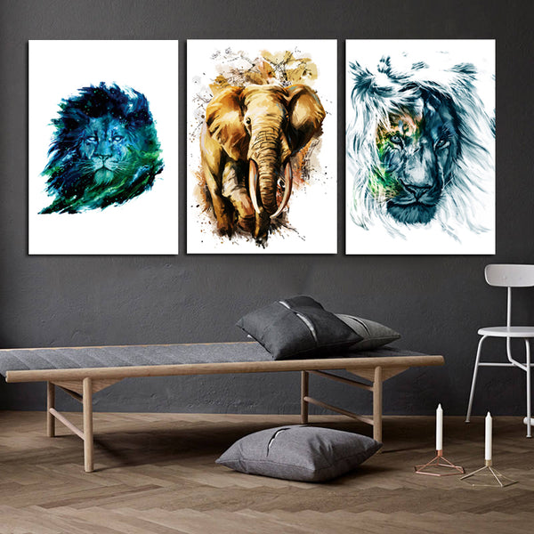 Animal-Canvas-Wall-Art-poster-Watercolor-Lion-elephant-Pop-Art-Print