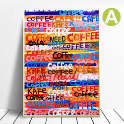 Canvas-Art-Print-Graffiti-Painting-COFFEE-SMILE-Wall-Poster-Decor