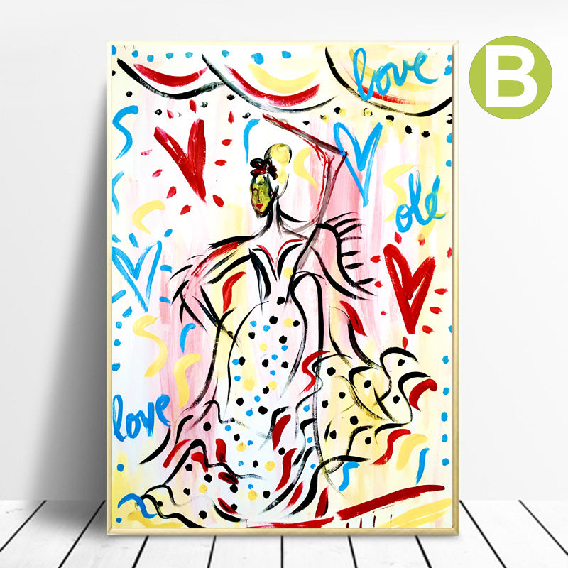 Canvas-Art-Poster-Ballerina-Graffiti-Painting-Print-for-Home-Decor