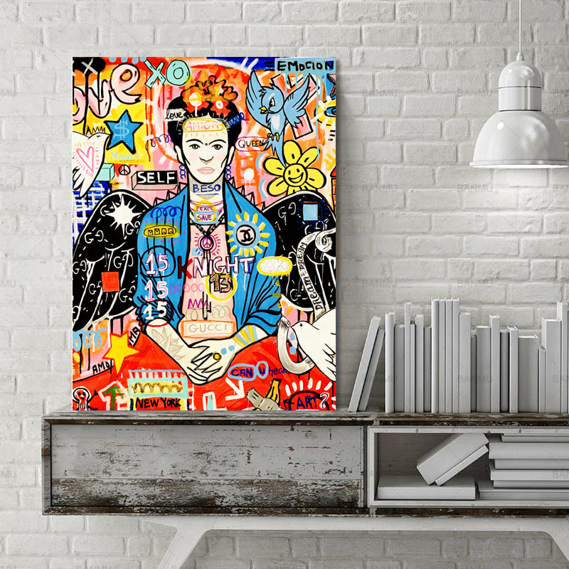 Modern-Canvas-Art-Poster-Frida-Graffiti-Painting-Print-Wall-Decor