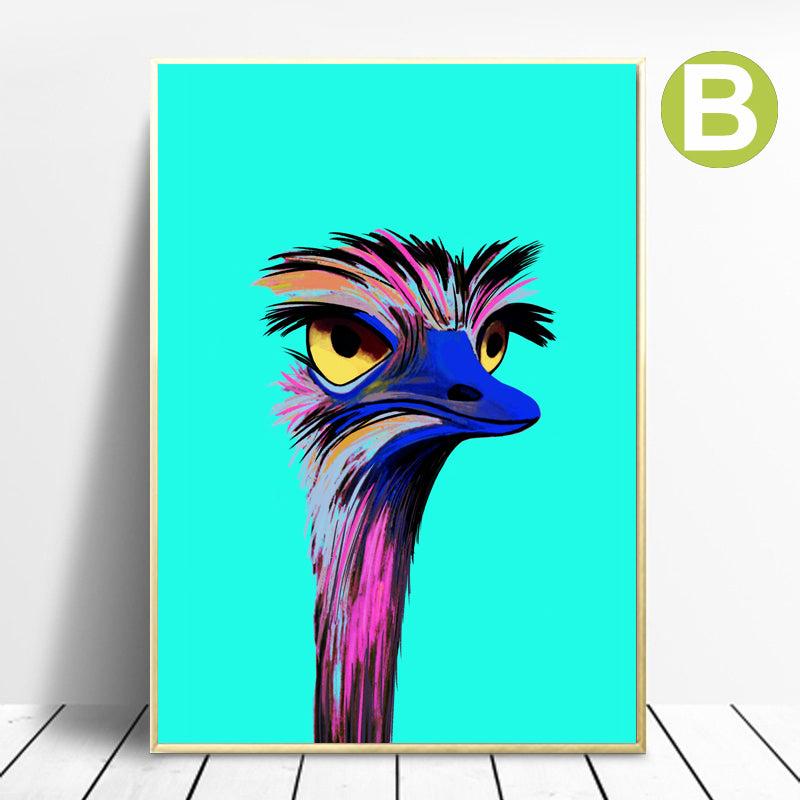 Abstract-Animal-Ostrich-Canvas-Painting-Prints-Modern-Wall-Art-Poster