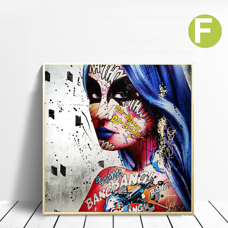 Sexy-Canvas-Wall-Art-Print-Decor-Woman-with-Gun-Colorful-Fashion-Lady