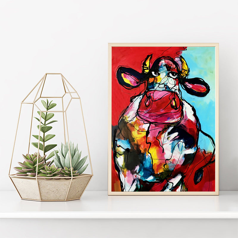 Modern-animal-artwork-Red-Bull-Canvas-Wall-Art-Print-for-home-decor