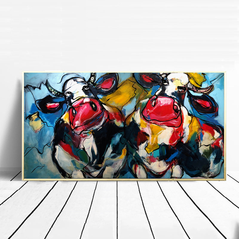 Cows-in-Blue-Modern-Wall-Poster-Animal-Artwork-Print-on-Canvas