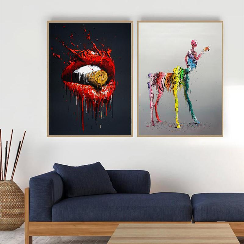 Modern-Wall-Decor-Graffiti-Abstract-Selfie-Art-Poster-Print-on-Canvas