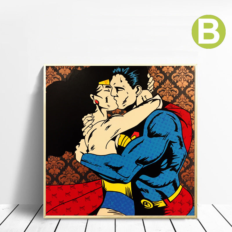 Wall-Art-Print-Poster-Wonder-Woman-Superman-on-canvas-for-Home-Decor
