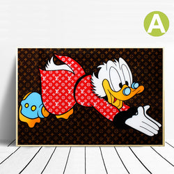 Graffiti Modern-Wall-Art-Decor-LV-Scrooge-McDuck-Canvas-Print-Poster
