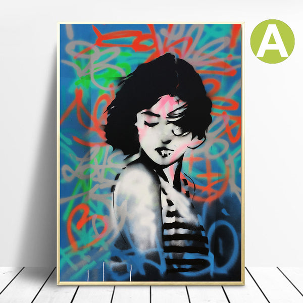 Graffiti-Canvas-Pictures-Modern-Colorful-Woman-Wall-Art-Poster-Print