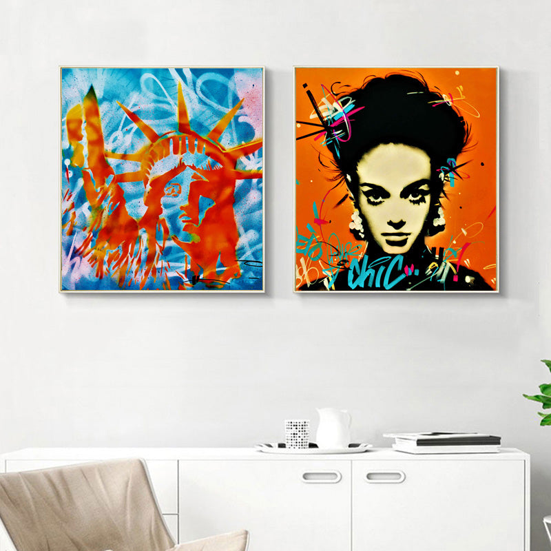 Pop-Graffiti-Canvas-Painting-on-Print-Colorful-Woman-Wall-Art-Poster