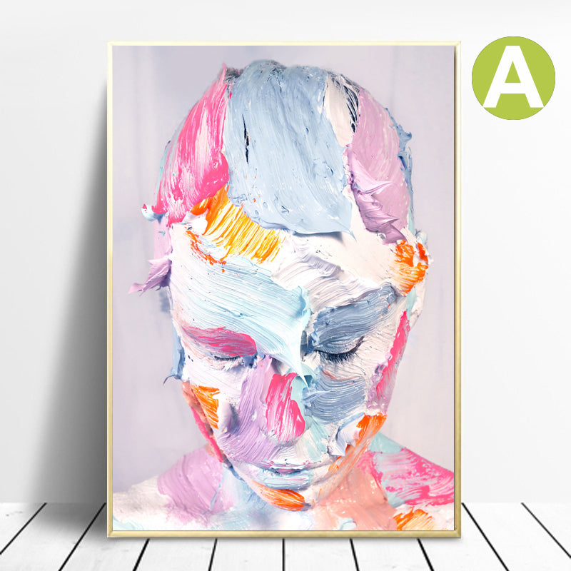 Modern-Graffiti-Wall-Art-Pink-Face-Canvas-Artwork-Print-Decoration