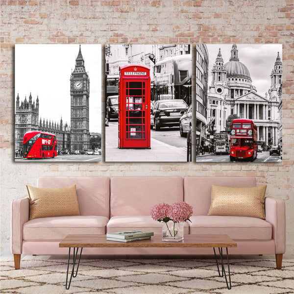 Canvas-Picture-London-Big-Ben-Red-Telephone-Pavilion-Wall-Art-Poster