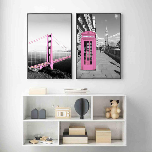 Canvas-Wall-Art-Poster-Golden-Gate-Bridge-Pink-Telephone-Pavilion