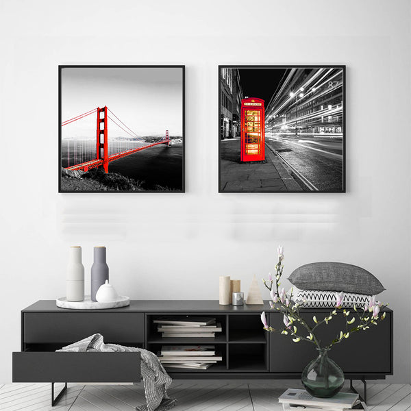 Canvas-Picture-Print-Golden-Gate-Bridge-Red-Bus-Wall-Art-Poster-Decor