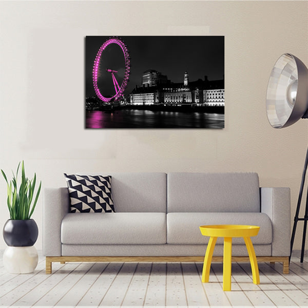 Canvas-Art-Poster-Print-London-Eye-|-Tower-Bridge-|-Big-Ben-at-Sunset