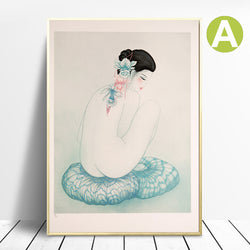Modern-Canvas-Artwork-Wall-Decor-Nude-Woman-on-The-Flower-Art-Poster