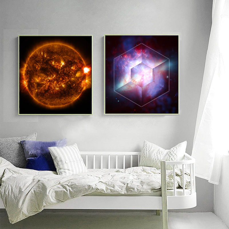 Colorful-Canvas-Print-Solar-flare-Galaxy-Stars-Wall-Art-Poster-By-NASA