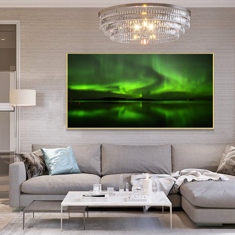 Wall-Art-Poster-Aurora-Borealis-Scenery-Landscape-Painting-on-Canvas