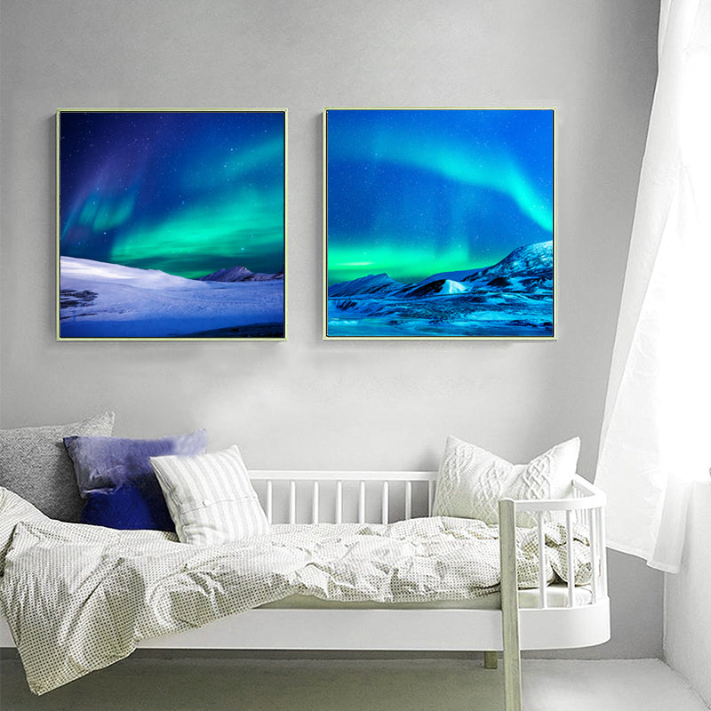 Wall-Art-Picture-Blue-Art-Aurora-Borealis-Scenery-Painting-on-Canvas