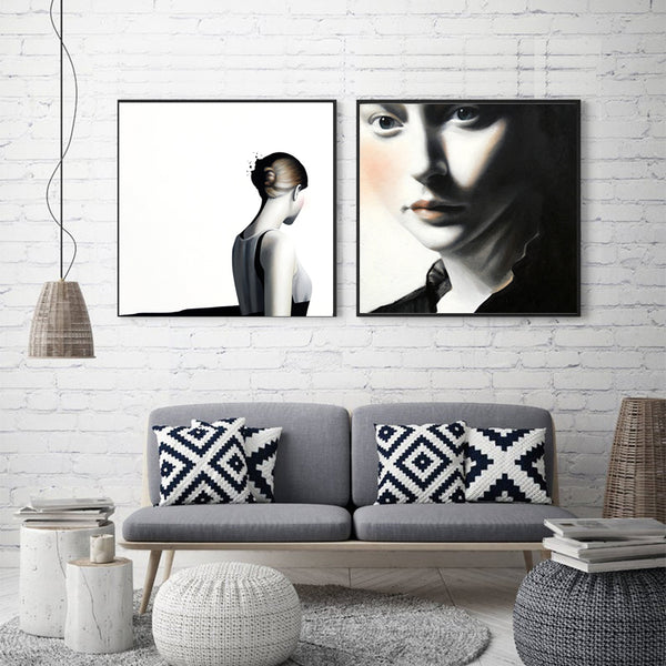 Modern-Art-Black-&-White-Decor-Woman-Portrait-Wall-Art-poster-Canvas