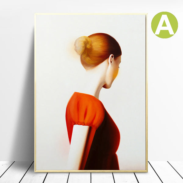 Modern-Wall-Art-Poster-Decor-Red-Hair-Woman-Painting-Print-on-Canvas